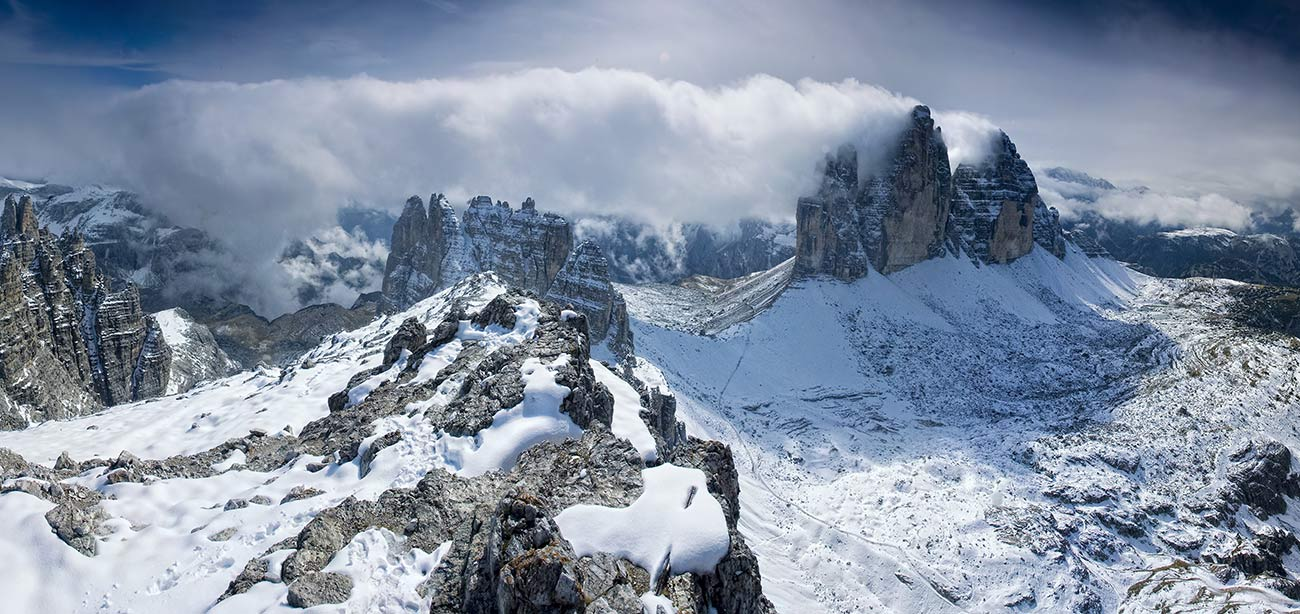 The Three Peaks of Lavaredo and other mountains in the winter