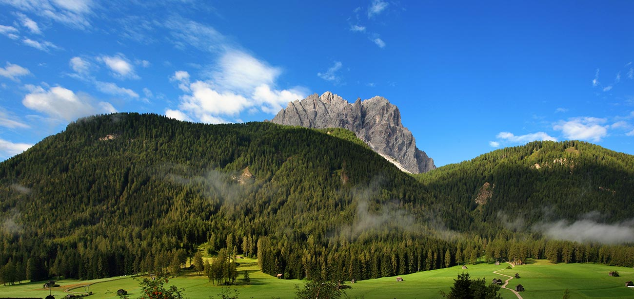 Sesto's Dolomites with green woods and blue sky