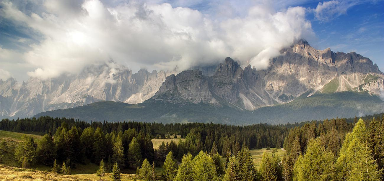 Panoramic view of the Dolomites of Sesto with clouds