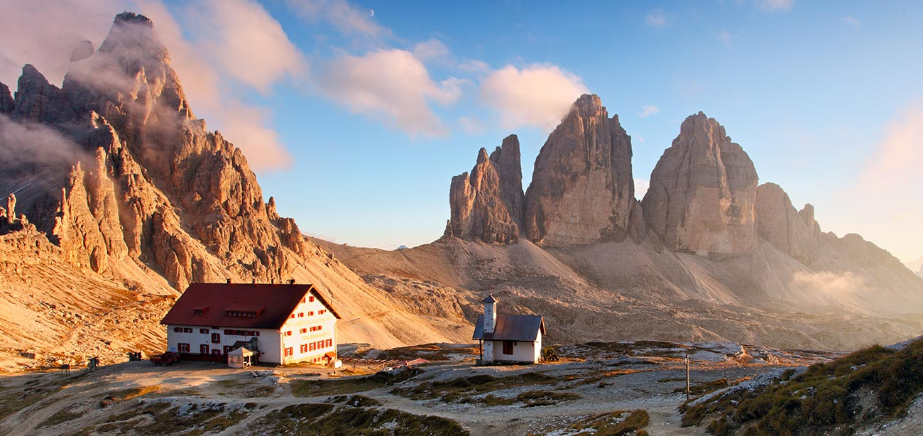 Rifugio Locatelli with Three Peaks of Lavaredo on the background